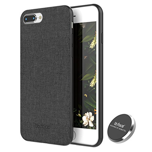 iPhone 8 Plus Case, iPhone 7 Plus Case PU Leather Fabric Pattern Phone Cover Magnet Absorbent Function Hard Back Case with in-Car Magnet Holder (DO NOT Support Wireless Charging) - 5.5 Inch, Black