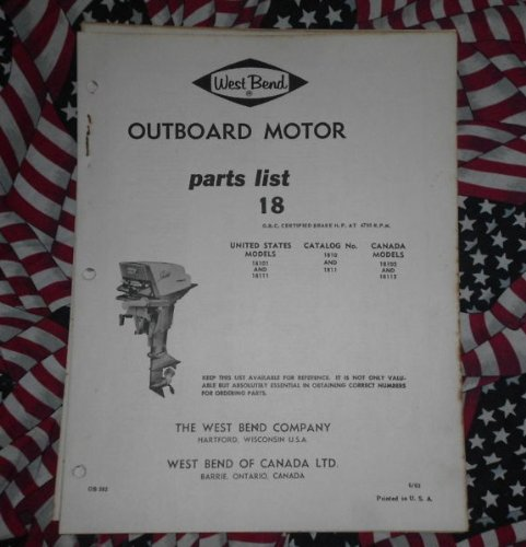 1963 West Bend Chrysler Outboard 18 HP Parts Catalog Chrysler Outboard Parts Catalog