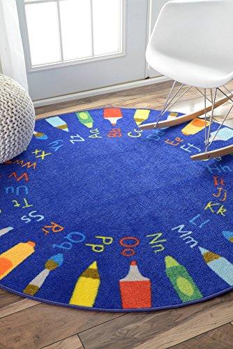 nuLOOM Nursery Rainbow Alphabet Kids Area Rugs, 8', Blue (Rug Kids Rainbow)