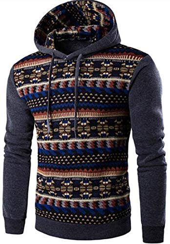 Oscuro Mode Gris Capuche Manches Sweat À Pull Mieuid Casual Style Longues Hoodies Chic Hommes Ethnique qptApx6