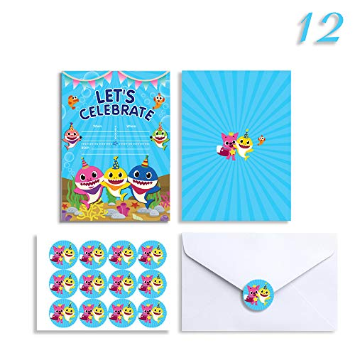 12 Baby Shark Birthday Invitations with Stickers Envelopes, Baby Shower Party Invitation Invites Cards for 1st Girls or Boys ()