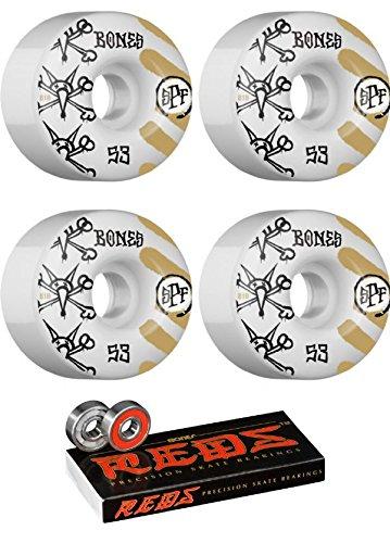 本部例示する勢い53 mm Bones Wheels WarペイントスケートボードWheels with Bones Bearings – 8 mm Bones Reds Precisionスケート定格スケートボードベアリング – 2アイテムのバンドル
