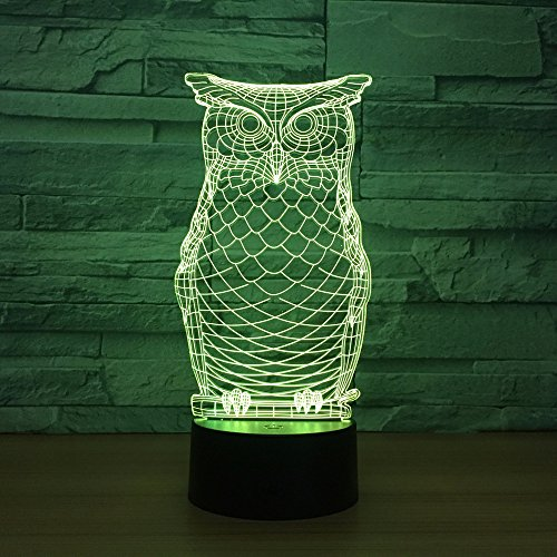 3D Illusion Nachtlicht OWL New Animal Lamp Night Beleuchtung Usb Mulitcolor Change Christmas Kids Toy Decorative Lampe…