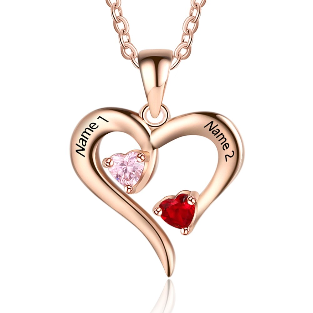 Personalized 2 Names Simulated Birthstones Necklaces 2 Couple Hearts Name Engraved Pendants for Women £¨Rose Gold