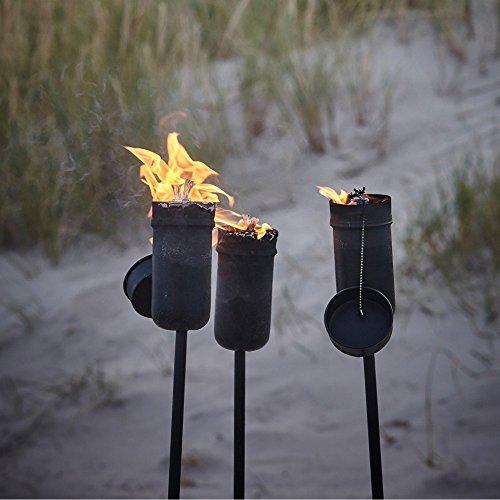 2x Ölfackel schwarz Fackel aus Metall hochwertige Stabfackel Gartenfackel (2)