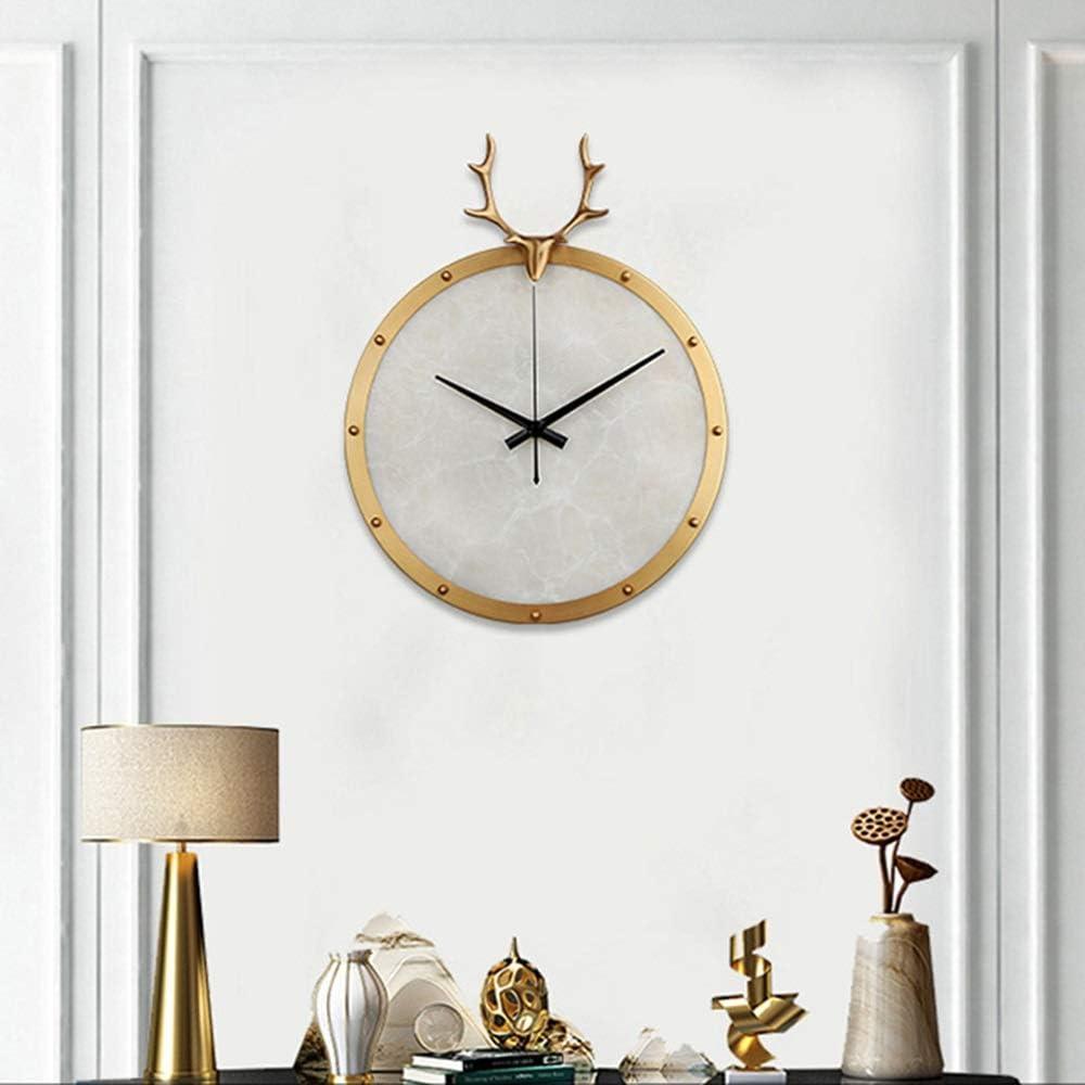 壁掛け時計 ゴールデンウォールクロックリビングルーム北欧の純銅鹿頭時計現代のミニマリストの家の雰囲気クロック350 * 435(mm)の JPLLYY