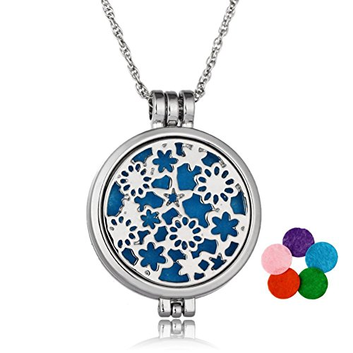 Aromatherapy Essential Oil Diffuser Glow in Dark Locket Pendant Necklace for Women (Silver)