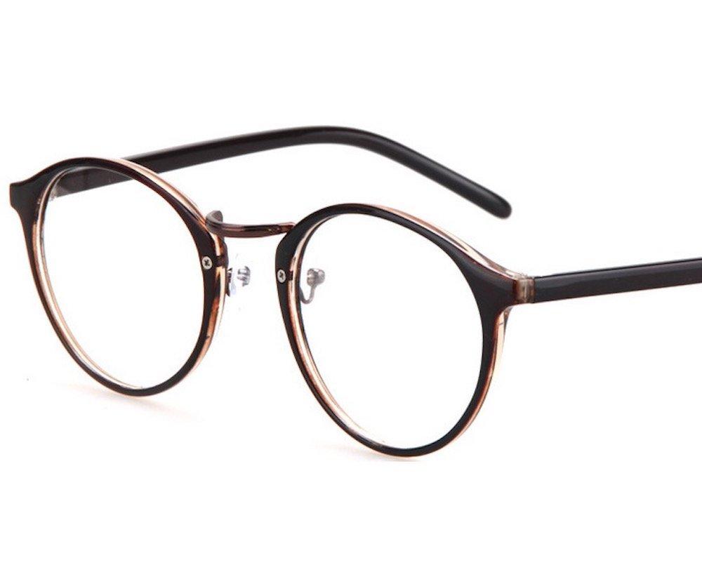 truth jewel 丸型 ファッション メガネ おしゃれ かわいい 伊達 眼鏡 レトロ フレーム メンズ レディース ユニセックス ブラック ブラウン (ブラウン)の画像