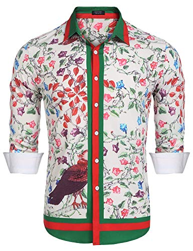 (COOFANDY Men's Floral Dress Shirt Long Sleeve Slim Fit Casual Fashion Luxury Printed Button Down Shirt (L, Pink-1))