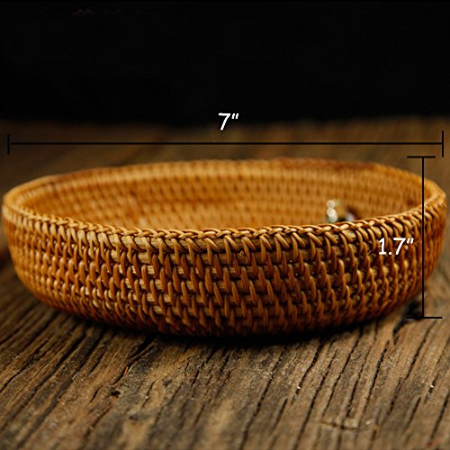 100% Handmade Weaved Storage Bin Fruit Basket Rattan Hamper Wicker Tray Weaving Rack Holder Dining Room Small Container Box Natural Decor Serving Handcrafted Bowl Organizer Serving Snack Dish Display by yaku (Image #1)