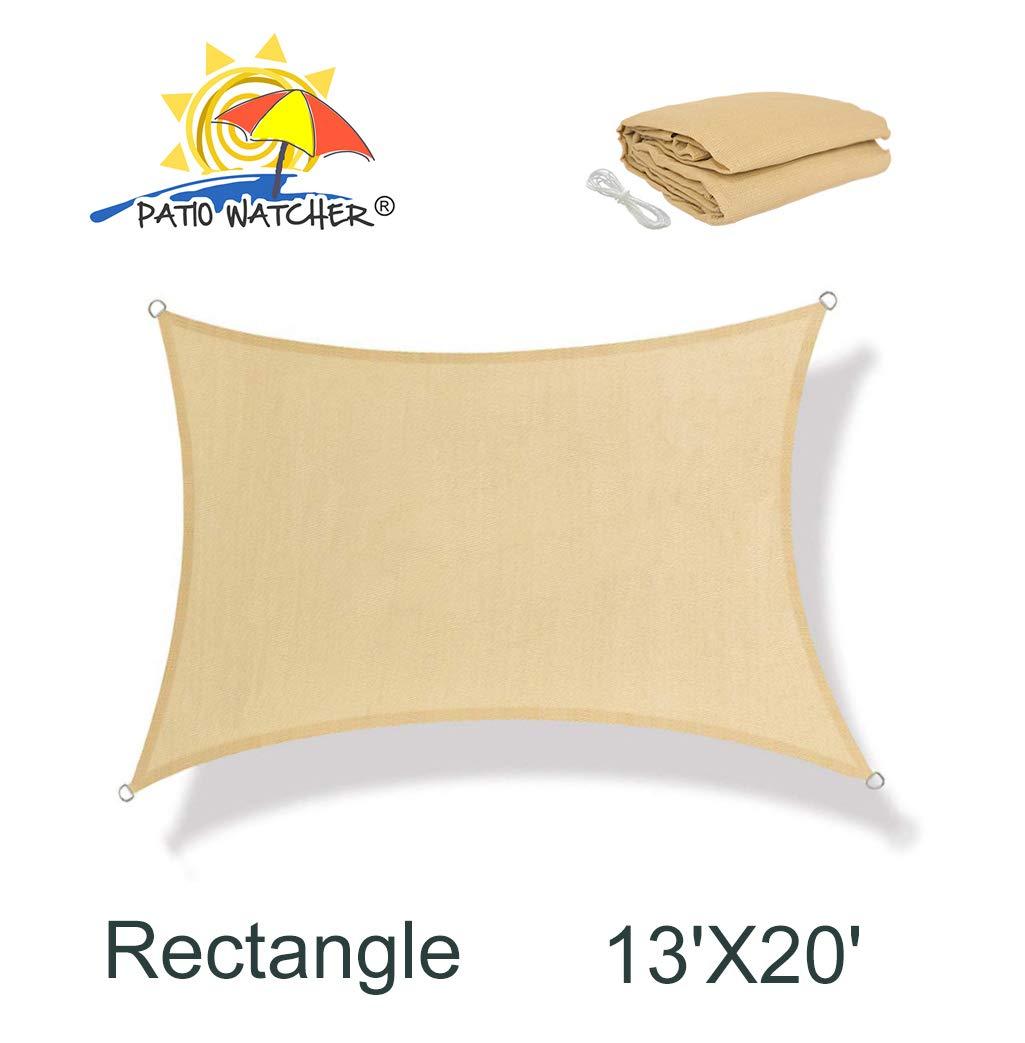 Patio Watcher 13' x 20' Rectangle Sun Sail Shade UV Block Shade Sail Perfect for Outdoor Patio Garden Sand by Patio Watcher