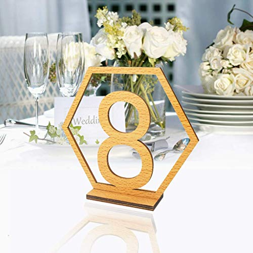 Table Numbers 1-20 for Wedding or Restaurants with Base 20Pack, Wooden Seat Number Table Desk Names Holders Cards Stands for Birthday Party Hotel Business Reception Wedding Decoration (1-20 Numbers)