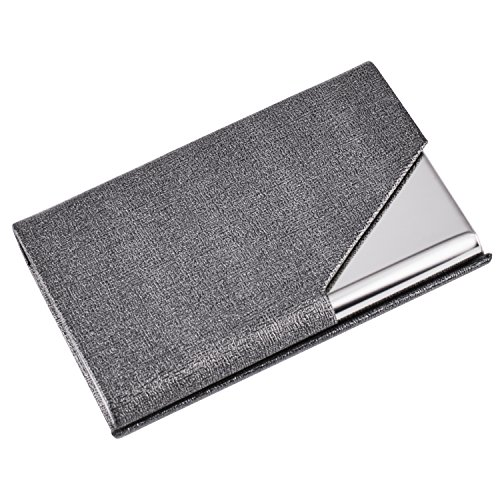 Maxgear Professional Business Card Holder PU Leather & Stainless Steel Business Card Case Metal Card Holders for Men or Women Name Card Holders with Magnetic Shut, Triangle Gray