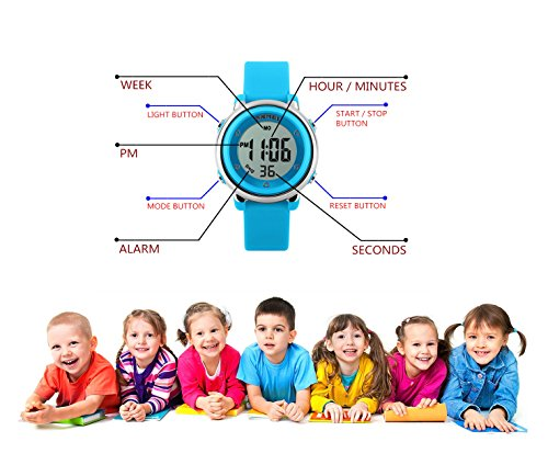 WUTONYU(TM) Children Digital Watch Kids Boy Girls LED Alarm Stopwatch Waterproof Wristwatches(Black) by WUTONYU (Image #4)