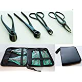 U-nitt Premium 4-pc Bonsai Tool Set Carbon Steel: Wire cutter concave cutter / knob cutter / wire cutter/ Ashinaga shears with case