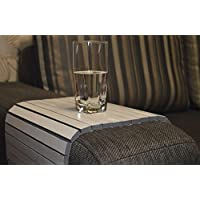 Sofa Arm Tray 18x12 Inch by WoodenStuff Side Over Couch Table Perfect Accessories For Your Recliner Narrow Folding Snak Coffee Holder Armchair Organizer Chair Caddy White Gray Housewarming Gift
