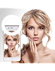 Selfie Ring Light, Rechargeable Cell Phone Ring Light, 3 Level Brightness 36 LED Ring Light Adjustment Clip on Smartphone for YouTube, Facebook, Live Stream, Makeup Light for,Selfie , Photography , ring light for iPhone, Samsung, Android, iPad, Laptop
