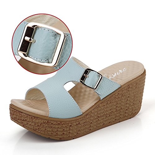 6cm Chaussures d'été Chaussons de talons hauts Pantoufles de plage extérieures (Blanc / Bleu / Rose) ( Couleur : Bleu , taille : EU36/UK3.5/CN36 )