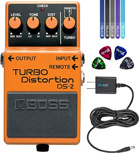 BOSS DS-2 Turbo Distortion Pedal Bundle with Blucoil Slim 9V 670ma Power Supply AC Adapter, 4-Pack of Celluloid Guitar Picks, and 5-Pack of Reusable Cable Ties (Boss Ds 1 Distortion Pedal Power Adapter)