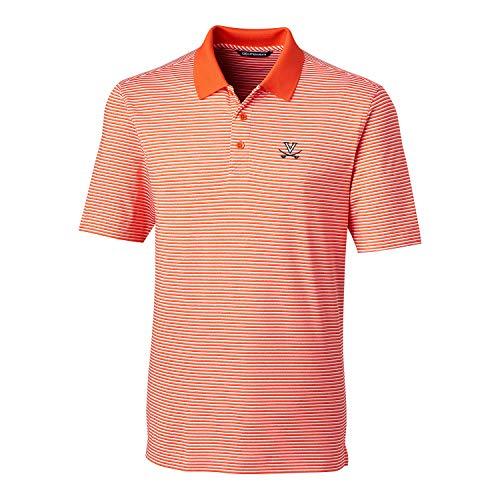 (Cutter & Buck NCAA Virginia Cavaliers Men's Short Sleeve Tonal Stripe Forge Polo, College Orange, L)
