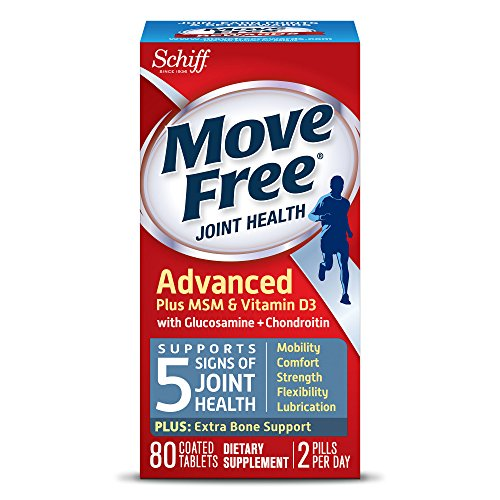 Move Free Advanced Glucosamine Chondroitin MSM Vitamin D3 and Hyaluronic Acid Joint Supplement, 80 ct