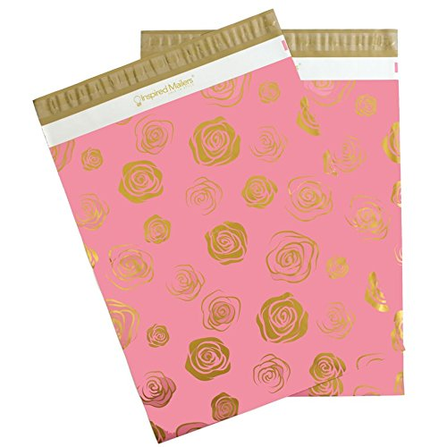 Inspired Mailers Poly Mailers 14.5x19 Deluxe Gold Roses – Pack of 50 – Unpadded Shipping Bags by Inspired Mailers