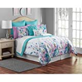 Mainstays Multi-Color Floral 12-Piece Bedding Full/Queen for Girls, Teens, Adults Comforter Set