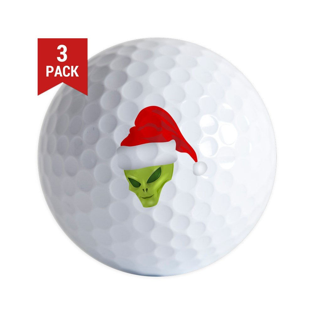 Golf Balls ( Set of 3 ) Green Alien Head withクリスマスサンタ帽子 B06XQJ8913