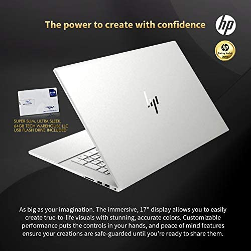HP Envy 17T 2020 i7-1065G7, 512GB SSD+32 Optane, 16GB RAM 3200 DDR4, 4GB Nvidia MX330, 17.3 FHD Touch, Wi-Fi 6, Win 10 Pro, HD CAM, 4 Cell Battery, B&O Sound, 64GB Tech Warehouse LLC Flash Drive