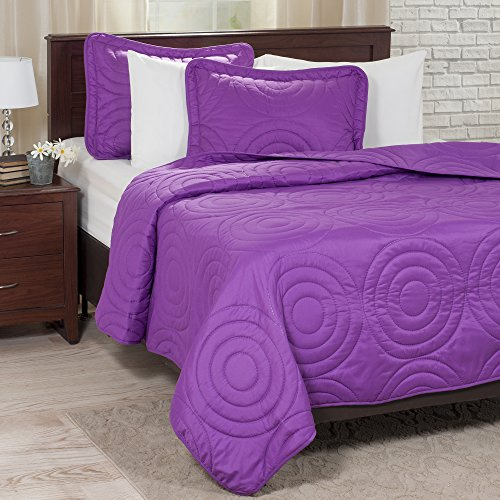 Lavish Home Solid Embossed 3 Piece Quilt Set - King - Purple
