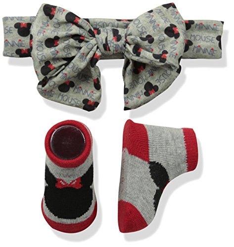 Disney Baby Girl's Minnie Mouse Headband Set Accessory, Gray Headwrap, One-Size