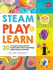 Preschoolers will love tackling these 20 fun, easy-to-follow step-by-step projects as they learn about STEAM topics (science, technology, engineering, arts, and math). Topics include symmetry and how light bounces to create reflections...