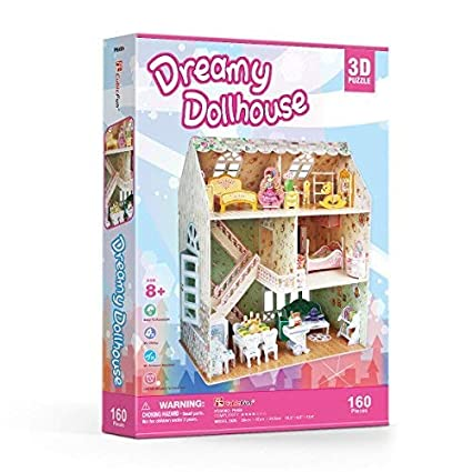 CubicFun 3D Paper Dollhouse Puzzle for Kids,DIY Minature Dollhouse Kits Toys with LED Light,Holiday Bungalow