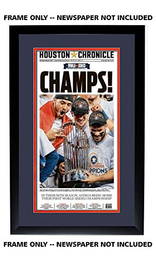 Houston Chronicle Newspaper Frame - with Astros Colors Double Mat