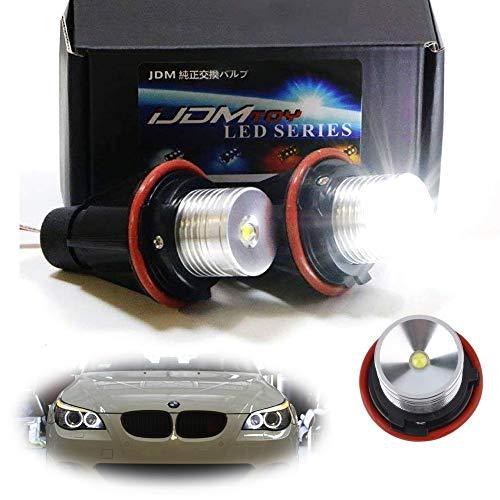 iJDMTOY (2) White LED Angel Eye Ring Marker Bulbs For BMW 5 6 7 Series X3 X5 (E39 E53 E60 E63 E64 E65 E66 E83), 7000K White (Bulb Bmw 525i)