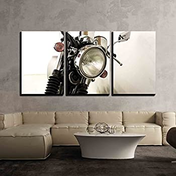 Wall26 3 piece canvas wall art vintage motorcycle detail modern home decor stretched
