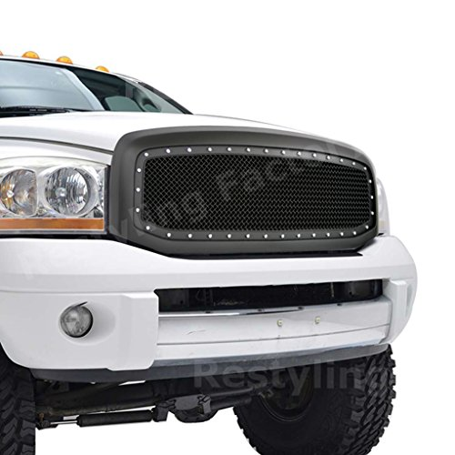 Restyling Factory 06-08 Dodge RAM 1500, 06-09 Dodge RAM 2500/3500 Matte Black Complete Front Hood Mesh Grille w/Rivet Full Replacement Grille Shell (Matte Black)