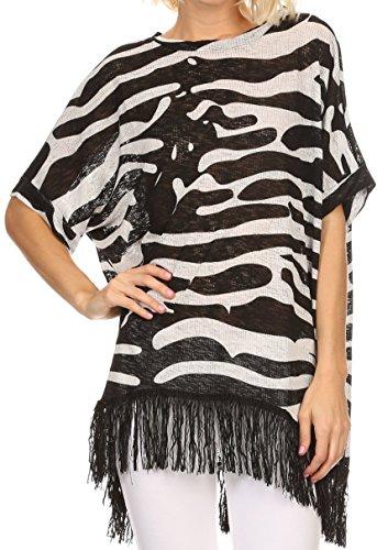 Sakkas BF5 - Yew Long Wide Sheer Printed Fringe Bottom Short Draped Sleeve Kimono Top - BF8510P-zbr -