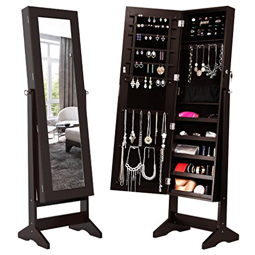 LANGRIA Lockable Jewelry Cabinet Jewelry Armoire with Mirror Jewelry Holder Organizer Storage, 4 Angle Adjustable, Brown - Necklace Jewelry Holder