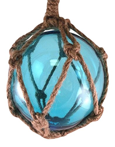 Japanese Glass Fishing Fish Net Float Buoy Tiki Decor Light Blue