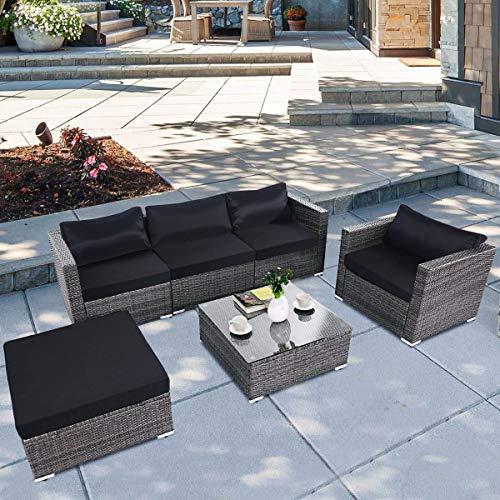 (Tangkula 6PC Patio Furniture Set Outdoor Garden Backyard Poolside All Weather PE Rattan Wicker Steel Frame Sectional Cushioned Seat Sofa Conversation Set (Grey))