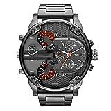 Mens Watches Quartz Sport Luxury Accurate Analog Three Eyes Stainless Steel Wrist Watch Zulmaliu (Silver)