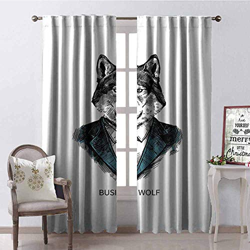 Gloria Johnson Wolf Blackout Curtain Business Animal in Suit with Jacket Shirt and Tie Sketch Style Hipster Print 2 Panel Sets W52 x L108 Inch Teal Vermilion Black ()