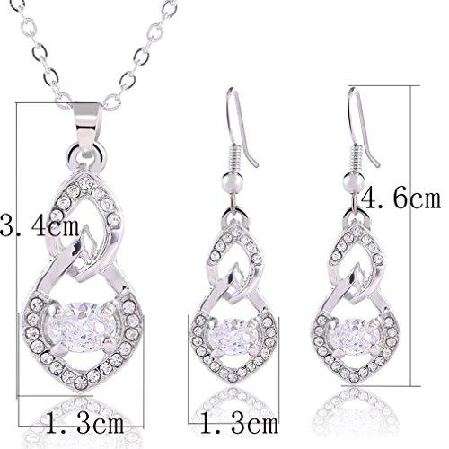 2 Pc /Parure Bijoux Ensemble fantaisie Femme Plein de Diamants Collier et Boucles d'Oreilles Hypoallergénique-