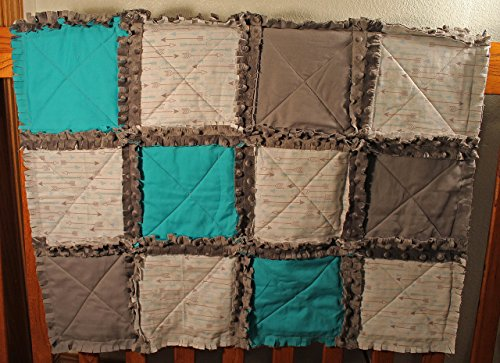 Arrow Themed Crib Rag Quilt, Arrow Baby blanket, Baby quilt, Baby shower gift by Krystals Sewing Memories and Personalized Gifts