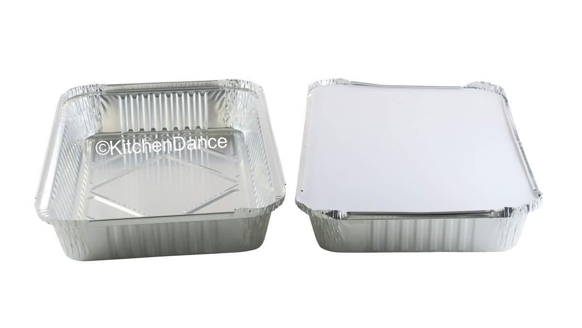KitchenDance Disposable Colored Aluminum 4 Pound Oblong Pans with Board Lids #52180L (Silver, 200)