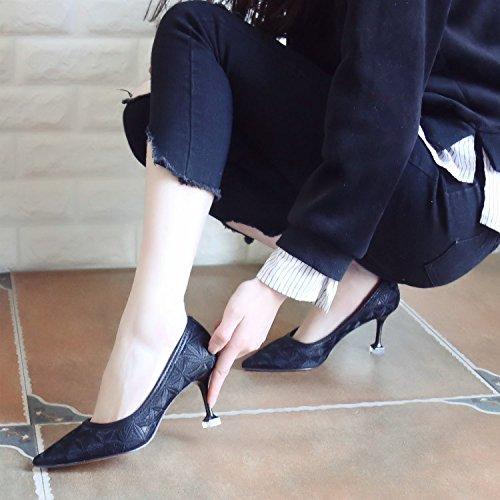 Della Tutte Profonda black Scarpe Scarpe Nero Punta Bocca ZHUDJ Poco Molla Stilettos Match A pPqUaw