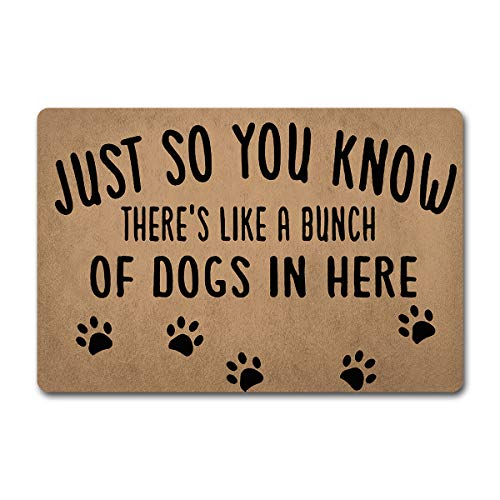 ZQH Back Door Mat Just So You Know There's Like Lot of Dogs in Here Doormat Funny Door Rugs (23.6 X 15.7 in) Non-Woven Fabric Top with a Anti-Slip Rubber Back Door Rugs Target Doormat (Best Doormat For Dogs)