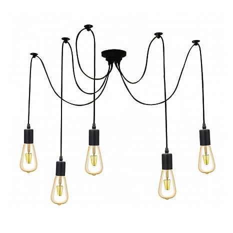 Lámpara de Techo Iluminación colgante con 5 Brazos (Cada Uno con Cable 1.8m) Antiguo Clásico Ajustable Retro DIY Lámpara Pendiente para E27 para Salón ...