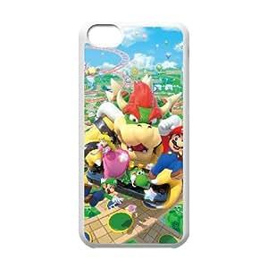 Funda iPhone 5C Teléfono Caso Mario White Party X4H7MS plástico caja del teléfono celular para las muchachas